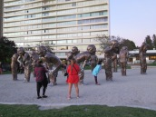 "Seawall Park in Vancouver includes the ""A-maze-ing Laughter"" sculpture designed by Yue Minjun"